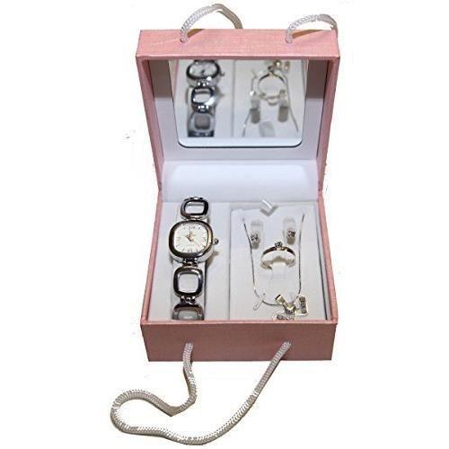 Coffret cadeaux rose miroir femme parure montre bague for Diamant coupe miroir