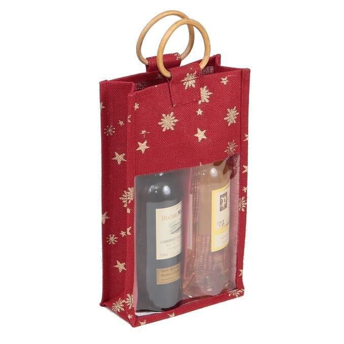 sac 2 bouteilles en toile de jute bordeaux et or grande fen 234 tre pvc transparente poign 233 es bois