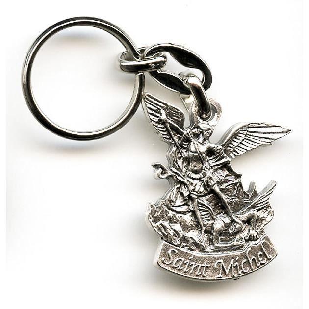 Saint michel archange porte cles metal argente achat for Porte unie st michel