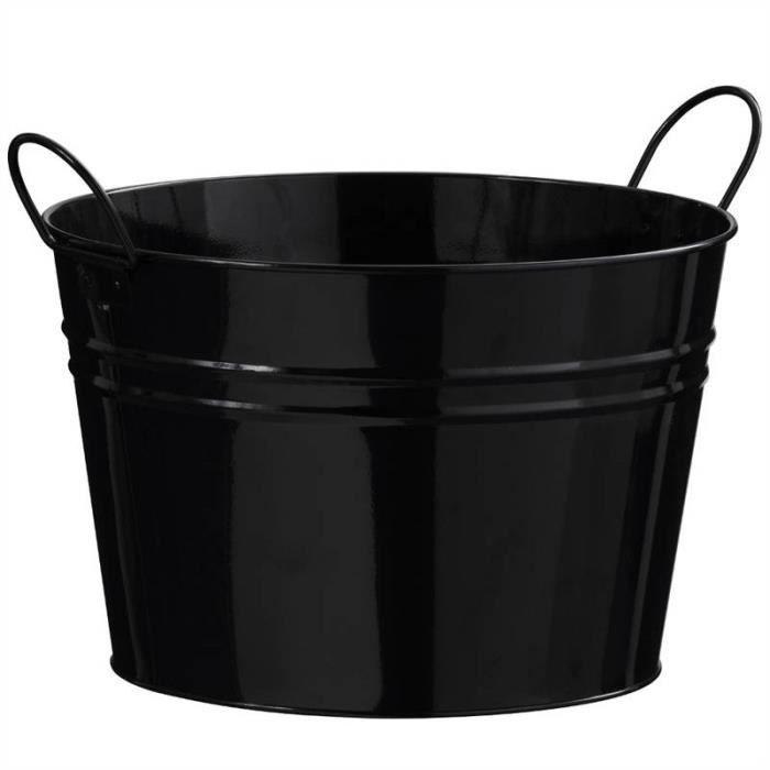 Seau en zinc noir avec poign es refroidisseur de boissons jardin cache pot achat vente seau - Cache pot en zinc ...