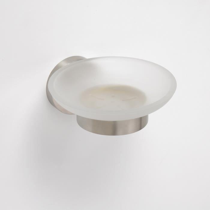 Porte savon neo en verre et en acier 12 5x5 5x11cm achat vente distributeur de savon porte for Porte savon en verre