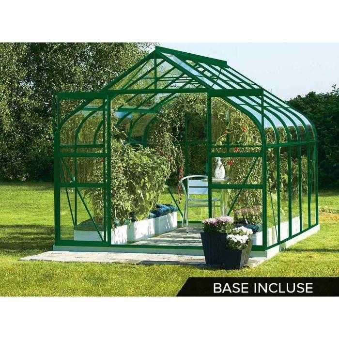 serre de jardin alu et verre tremp diana 8 25 m base vert achat vente serre de. Black Bedroom Furniture Sets. Home Design Ideas