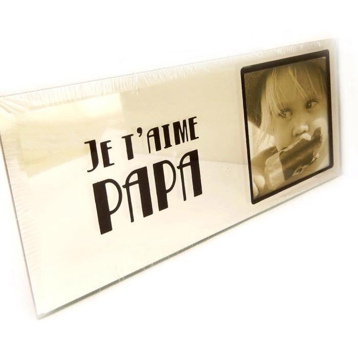 cadre photo je t 39 aime papa miroir achat vente cadre photo verre cdiscount. Black Bedroom Furniture Sets. Home Design Ideas