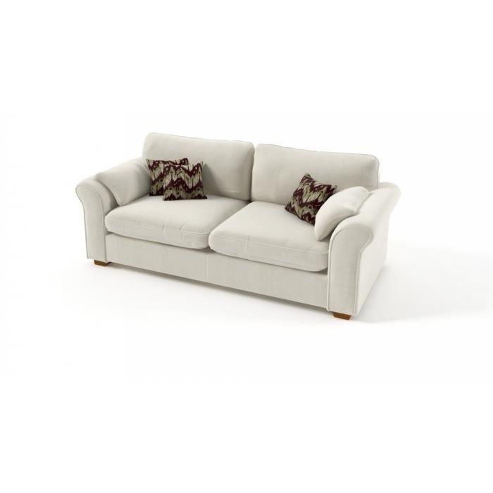 Canap 3 places tissu memo ivoire blanc cass achat vente canap sofa divan cdiscount - Canape blanc casse ...
