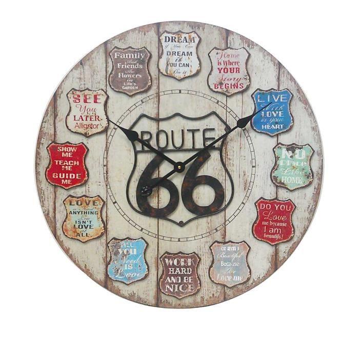 Horloge route 66 murale m tal 60 cm multicolore achat for Decoration murale route 66