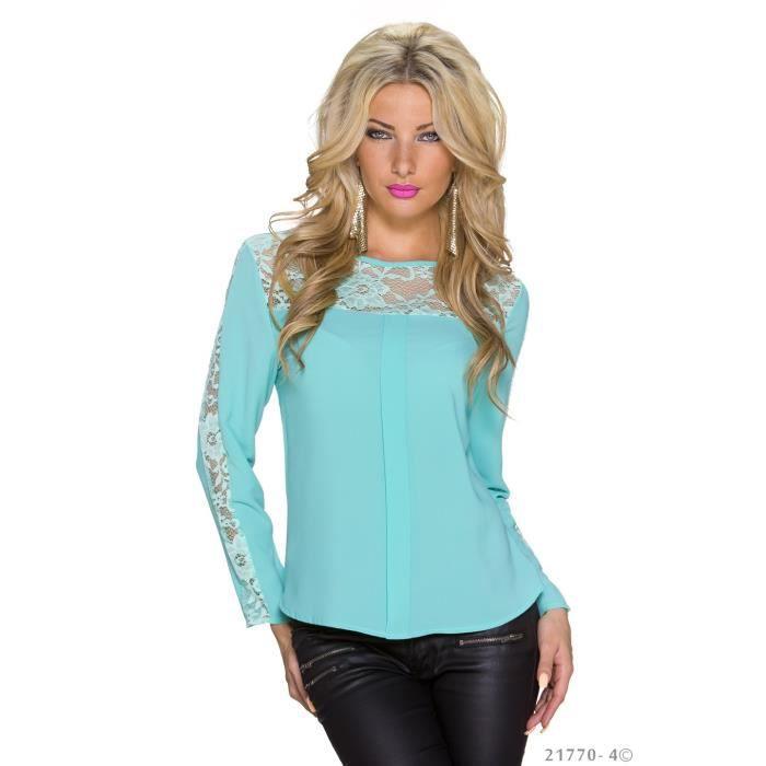 top blouse chemise chic elegant femme vert d 39 eau achat. Black Bedroom Furniture Sets. Home Design Ideas