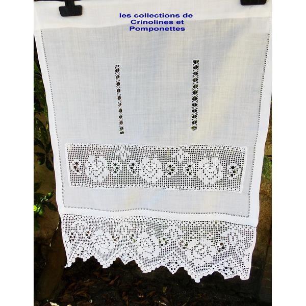 Rideau brode main bordure crochet d 39 art achat vente for Decoration bordure fenetre