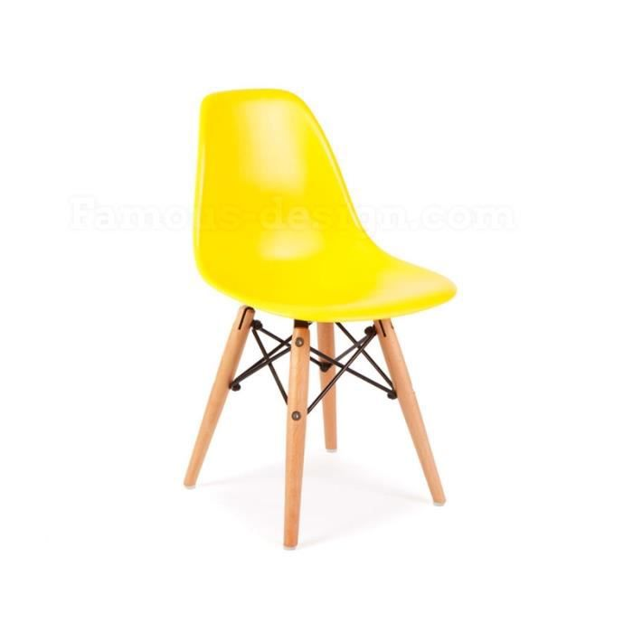 Chaise enfant eames dsw jaune achat vente chaise for Chaise dsw jaune moutarde
