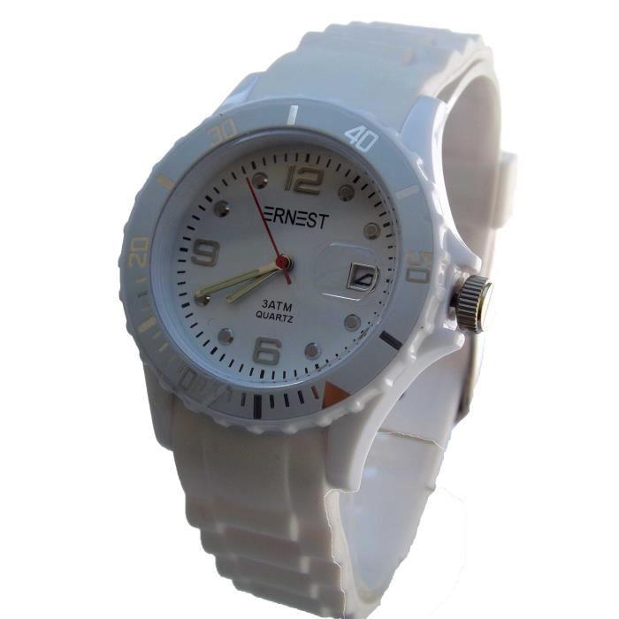 montre homme femme etanche silicone watch achat vente montre cdiscount. Black Bedroom Furniture Sets. Home Design Ideas