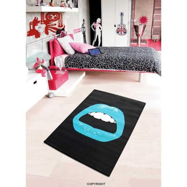 tapis bouche turquoise 120 x 160 cm achat vente tapis cdiscount. Black Bedroom Furniture Sets. Home Design Ideas