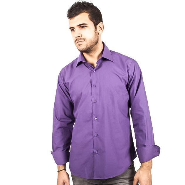 chemise violette pour homme violet achat vente chemise chemisette cdiscount. Black Bedroom Furniture Sets. Home Design Ideas