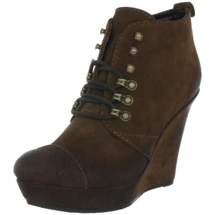 diesel bottines compens es en cuir femme tangy marron marron marron achat vente bottine. Black Bedroom Furniture Sets. Home Design Ideas