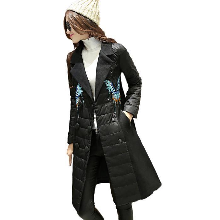 manteau femme caban pardessus noir mi long double boutonnage v tement hiver mode noir noir. Black Bedroom Furniture Sets. Home Design Ideas