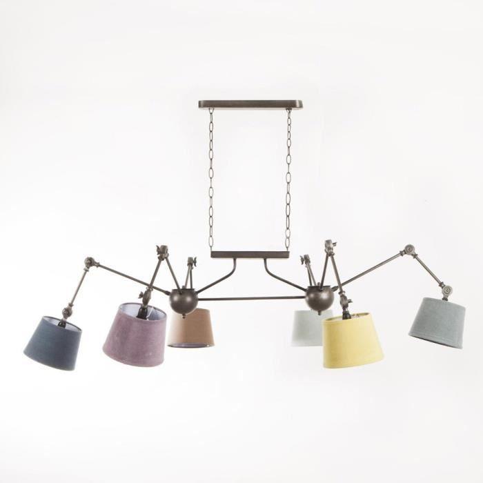 Paris prix lampe suspension m tal 6 t tes multicolore for Suspension multi lampes