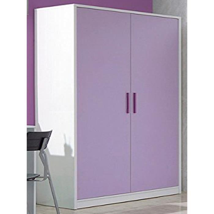 armoire enfant lima avec 2 portes coloris lila achat vente armoire de chambre armoire. Black Bedroom Furniture Sets. Home Design Ideas