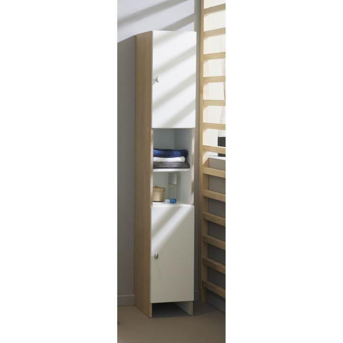 Colonne riga l29 cm blanc et ton bois clair achat for Colonne de salle de bain en bois