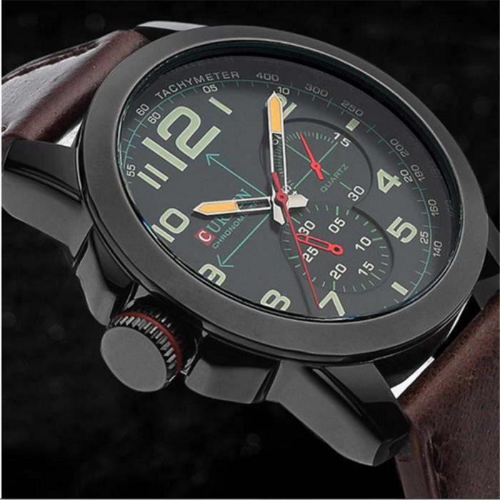 hommes marques montre loisirs cuir quartz etanche 8182 brun achat vente montre hommes. Black Bedroom Furniture Sets. Home Design Ideas