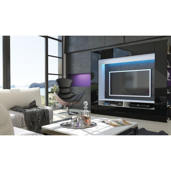 Meuble tv murale blanc et noir achat vente meuble tv for Meuble tele noir et blanc