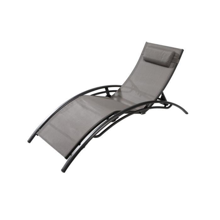 transat bahia en textil ne gris noir achat vente chaise longue transat bahia en textil ne. Black Bedroom Furniture Sets. Home Design Ideas