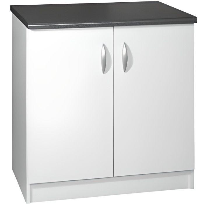 Meuble cuisine bas 80 cm 2 portes oxane blanc achat - Meuble cuisine 80 cm ...
