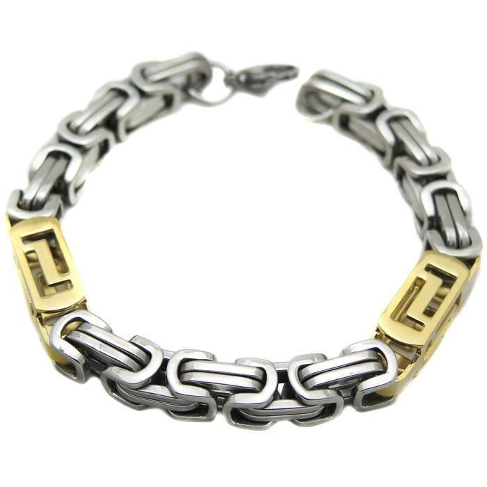 bracelet acier inoxidable chaine homme byzantin gr achat vente bracelet gourmette bracelet. Black Bedroom Furniture Sets. Home Design Ideas