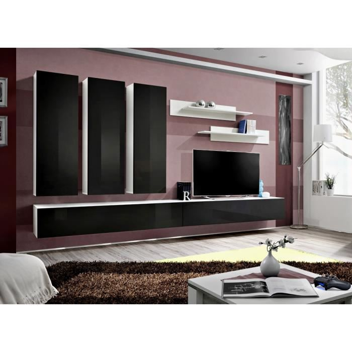 ensemble de s jour antonio i fa ade noir laqu e achat. Black Bedroom Furniture Sets. Home Design Ideas