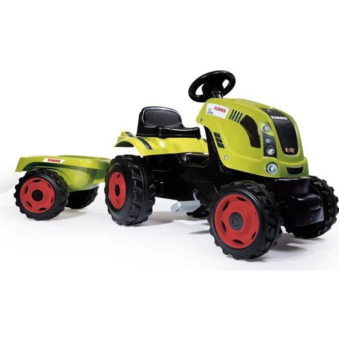 Smoby claas tracteur farmer xl remorque achat vente tracteur chantier cdiscount - Tracteur remorque enfant ...