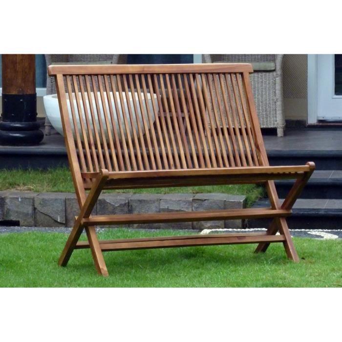 Double chaise banc pliant en teck huil achat vente - Chaise jardin teck ...