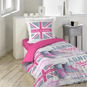 Parure de lit london 200x200 achat vente parure de lit - Housse de couette drapeau anglais 200x200 ...