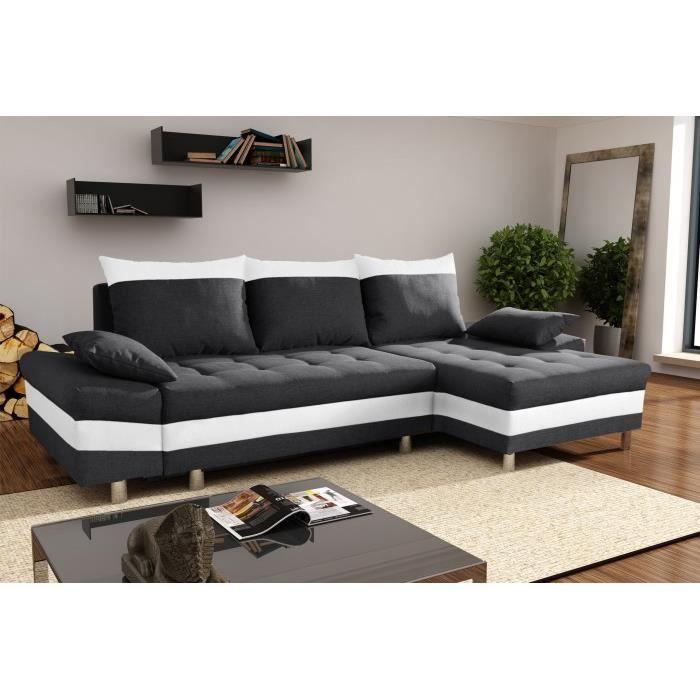 Bacau noir blanc canap d 39 angle droit achat vente canap sofa d - Canape angle noir et blanc ...