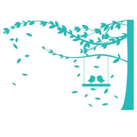 Stickers arbre et oiseaux turquoise achat vente for Autocollant mural arbre
