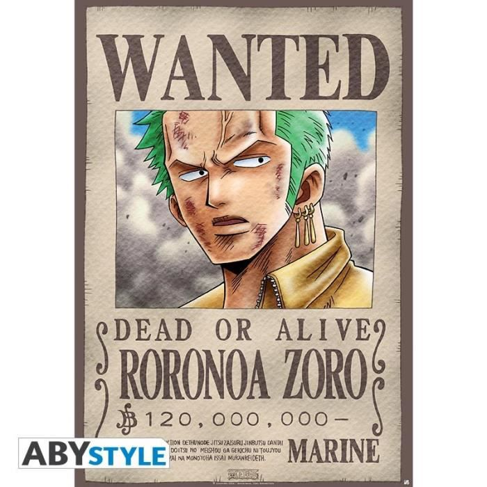 Poster one piece plastifi wanted zoro achat vente - Affiche wanted one piece ...