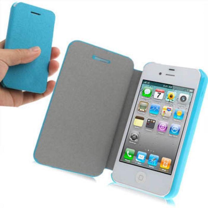 etui iphone 4 book de protection 224 rabat bleu achat housse chaussette pas cher avis et
