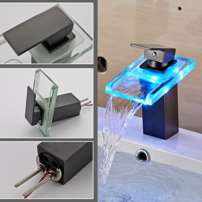 Auralum robinet de lavabo led mitigeur de salle de bain cuisine robinet gris - Robinet led salle de bain ...