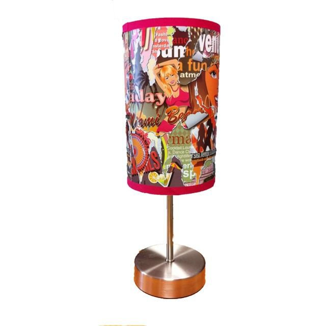 Lampe touch graffiti rose achat vente lampe a poser for Lampe a poser rose