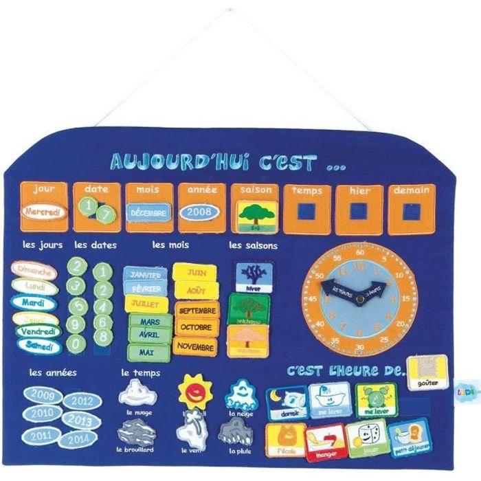 ludi panneau calendrier horloge bleu achat vente jeu d 39 apprentissage les soldes sur. Black Bedroom Furniture Sets. Home Design Ideas