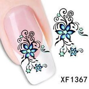 stickers water decal pour ongles fleur bleue 1367 achat vente stickers strass stickers. Black Bedroom Furniture Sets. Home Design Ideas
