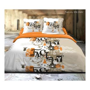 housse de couette orange achat vente housse de couette orange pas cher cdiscount. Black Bedroom Furniture Sets. Home Design Ideas