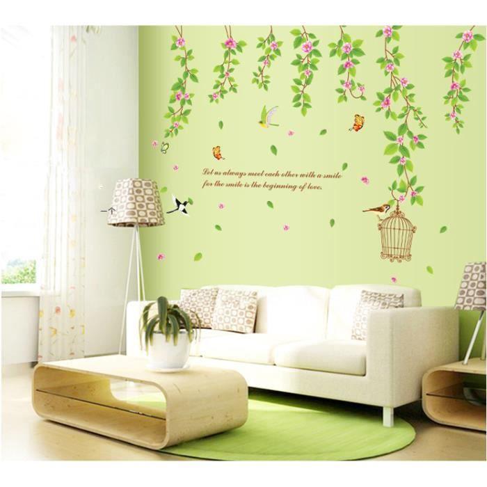 Jardin vert fleur de vigne cage oiseaux et papillons for Decoration murale jardin