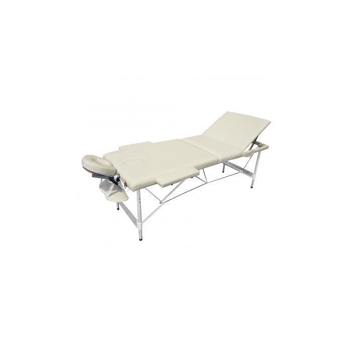 table de massage pliante avec 3 zones en alu blanc cr me. Black Bedroom Furniture Sets. Home Design Ideas