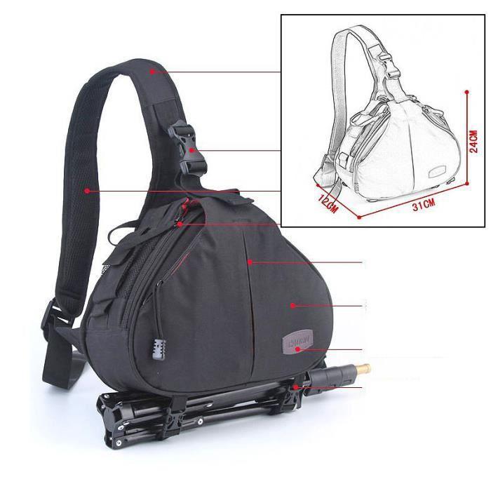 sac dos sacoche simple epaule r sistant l 39 eau pour appareil photo objectif dslr bk achat. Black Bedroom Furniture Sets. Home Design Ideas