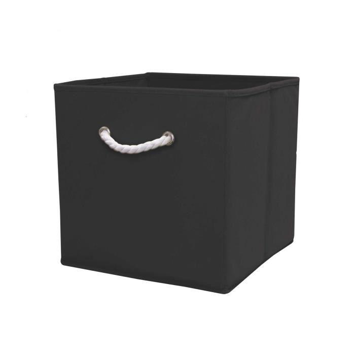 cube de rangement noir 32 cm avec poignet en corde achat vente casier pour meuble cdiscount. Black Bedroom Furniture Sets. Home Design Ideas