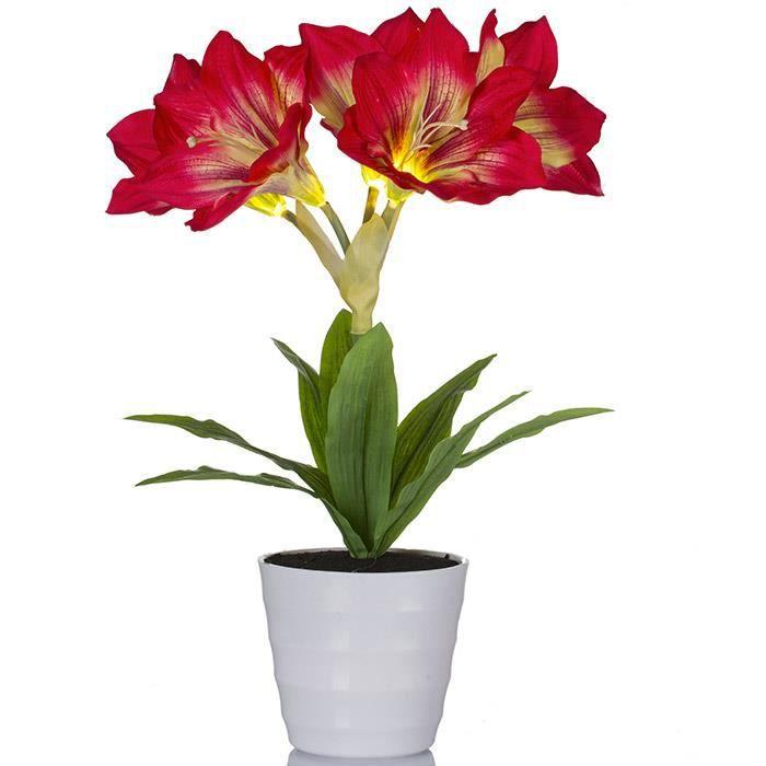 plante artificielle lumineuse amaryllis rouge achat
