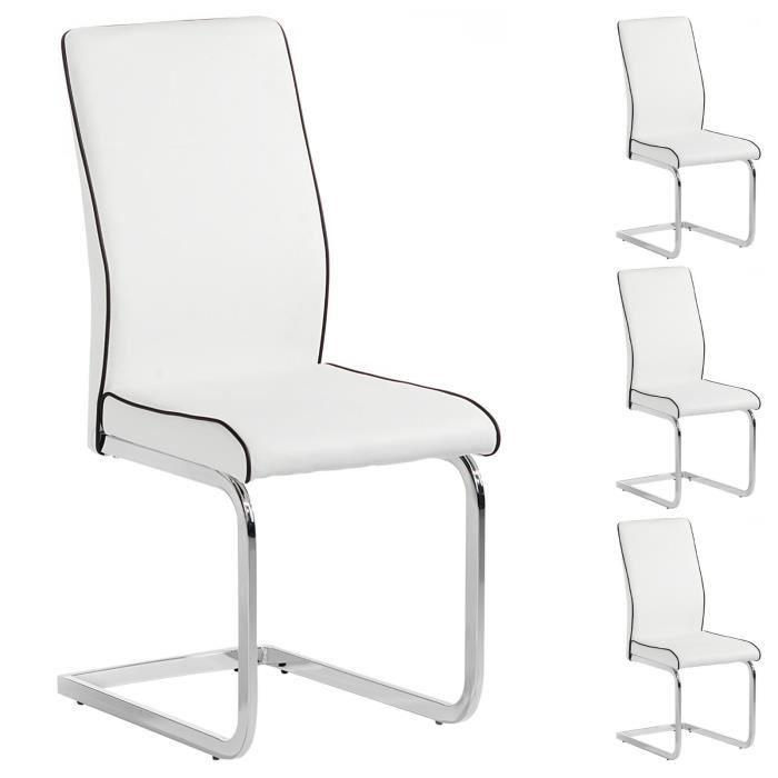 Lot de 4 chaises jimena blanc achat vente chaise blanc - Chaise de cuisine confortable ...