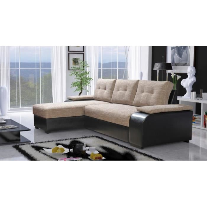 Justhome tokyo canap d 39 angle en cuir cologique beige 48423 lava 02 87 - Canape d angle cuir beige ...
