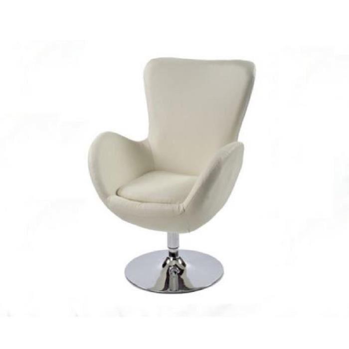 fauteuil cocon cr me achat vente fauteuil pu m tal cdiscount. Black Bedroom Furniture Sets. Home Design Ideas