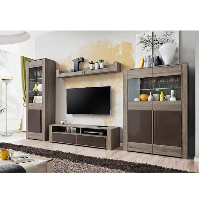 paris prix ensemble tv mural 4 l ments boston ch ne marron achat vente meuble tv paris. Black Bedroom Furniture Sets. Home Design Ideas