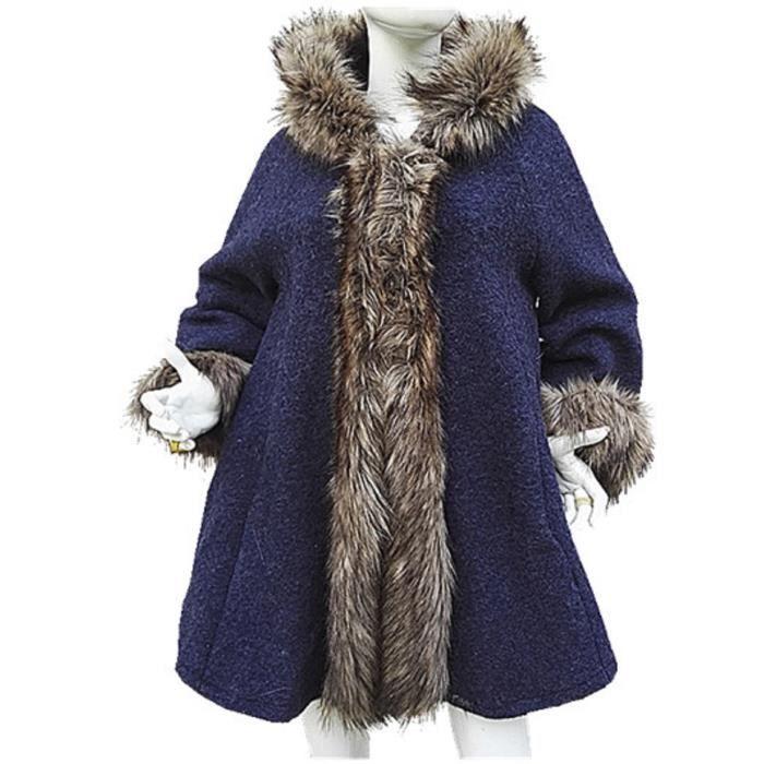 manteau femme veste laine grande taille 44 46 48 50 52 fourrure chaud ample bleu bleu bleu. Black Bedroom Furniture Sets. Home Design Ideas