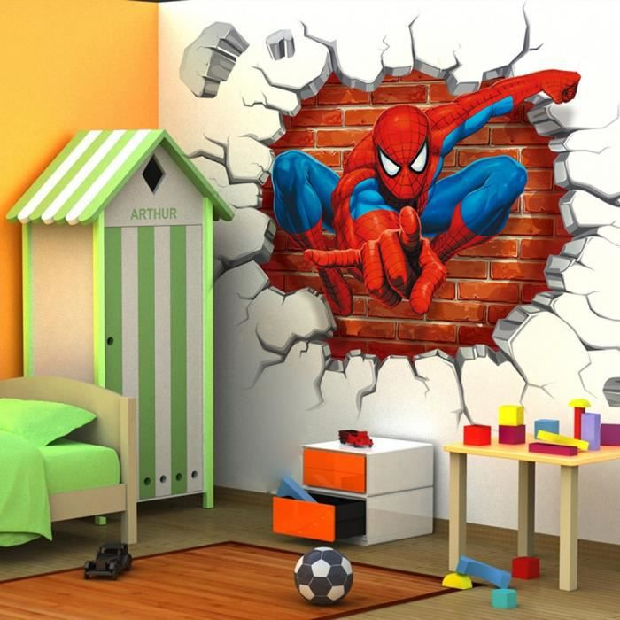50 50 cm 3d spiderman dessins anims movie decoration interieur sticker adhsifs muraux pour enfants chambre decoration enfant - Dessin Chambre 3d