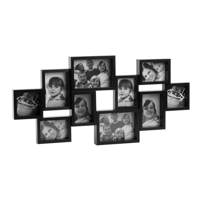 cadre 10 photos noir nesty achat vente cadre photo les soldes sur cdiscount cdiscount. Black Bedroom Furniture Sets. Home Design Ideas
